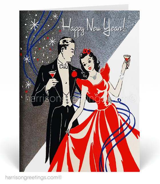 1920's Retro Art Deco Happy New Year Cards