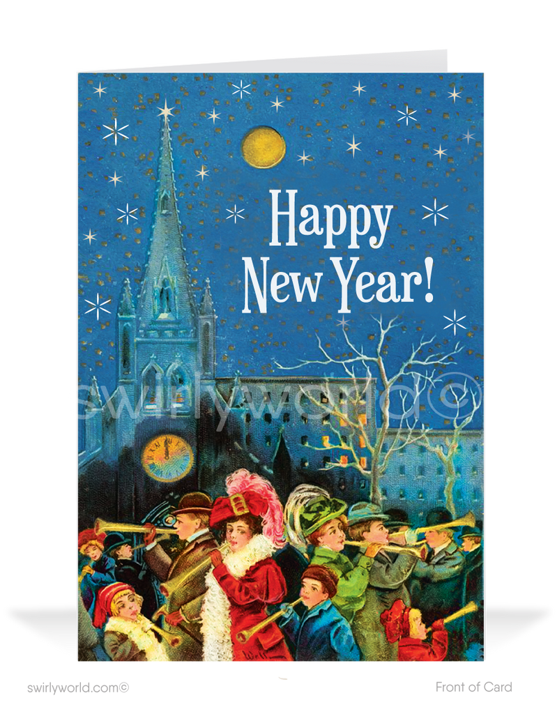 Vintage Victorian 1920's Retro Art Deco Happy New Year Cards