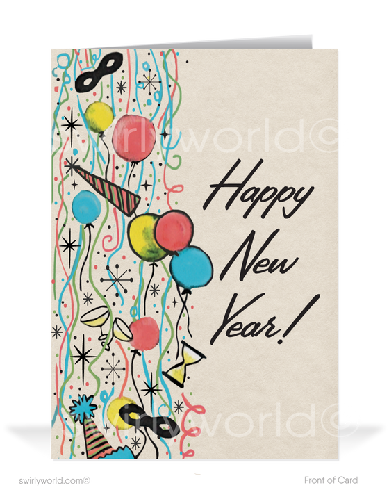 1950s Retro Mid-Century Modern Vintage Happy New Year Cards