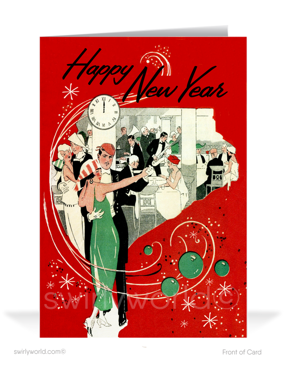 1940s Retro Modern Vintage Happy New Year Cards