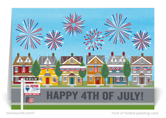 Real Estate Patriotic Fourth of July Cards for Realtors