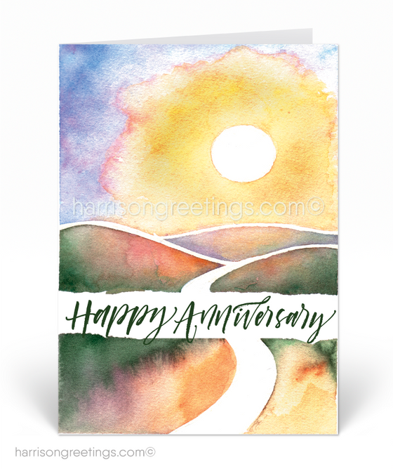 Watercolor Happy Anniversary Greeting Cards