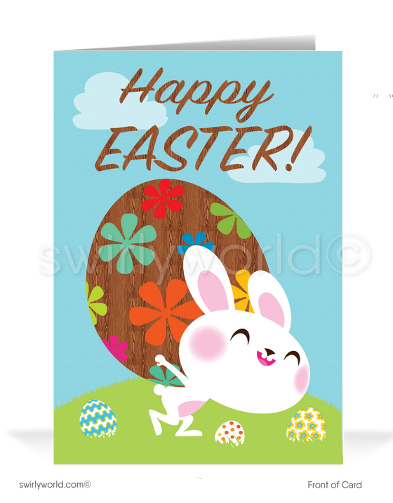Cute business happy Easter cards for customers.