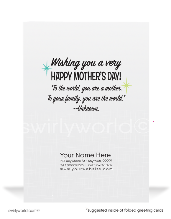 Cute Supermom happy Mother's Day Cards for Business Clients.