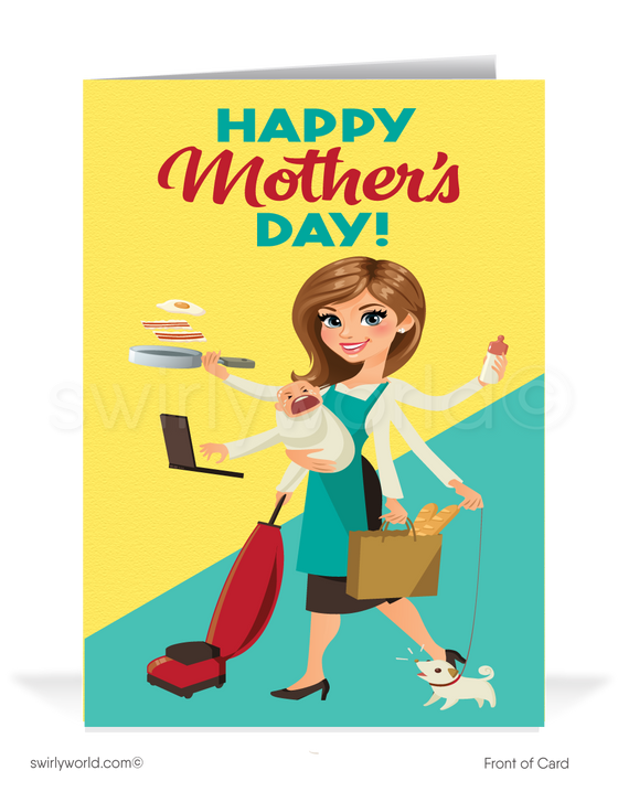 Cartoon supermom happy Mother's Day cards for business clients