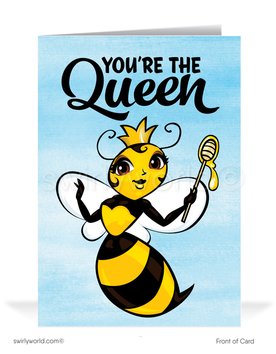 "Funny ""Queen Bee"" happy Mother's Day cards for business clients"