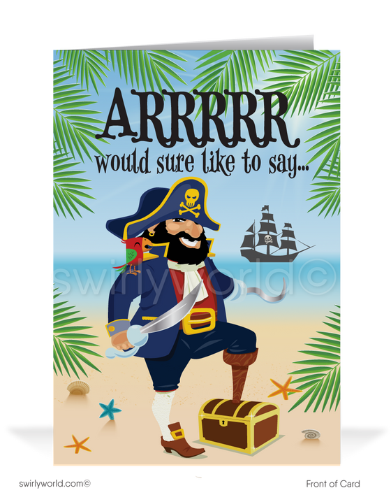 Funny Pirate Happy Father's Day Cards for Customers
