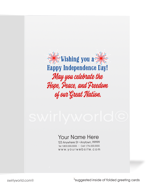Business Client Happy 4th of July Cards for Realtors