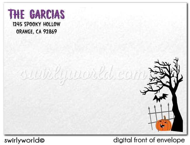 Skeleton Graveyard Non-Scary Kids Halloween Party Invitations