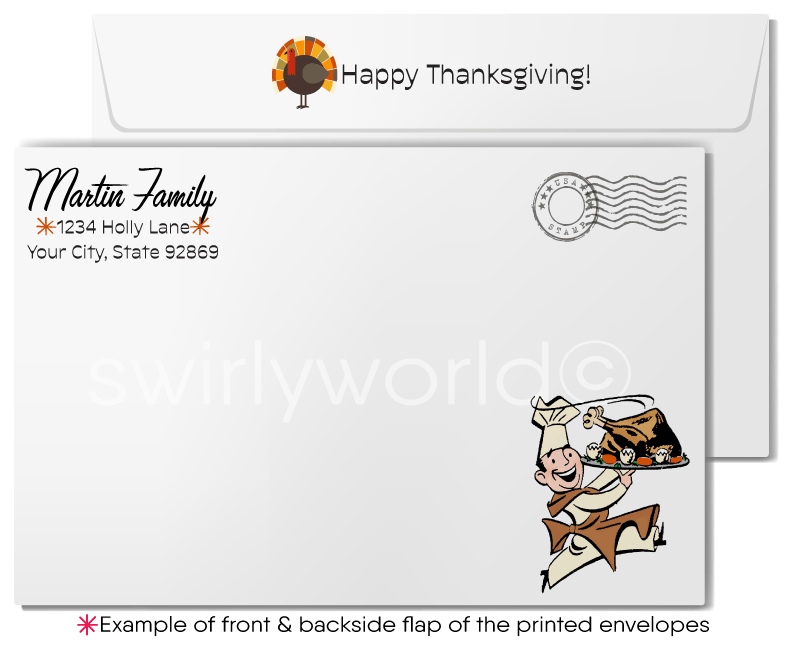 Vintage 1950s Retro Midcentury Happy Thanksgiving Greeting Cards