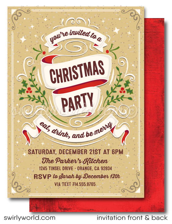 retro holiday Christmas dinner party invitations