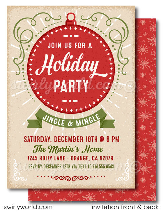 Retro Modern Jingle and Mingle Christmas Holiday Dinner Party Invitation