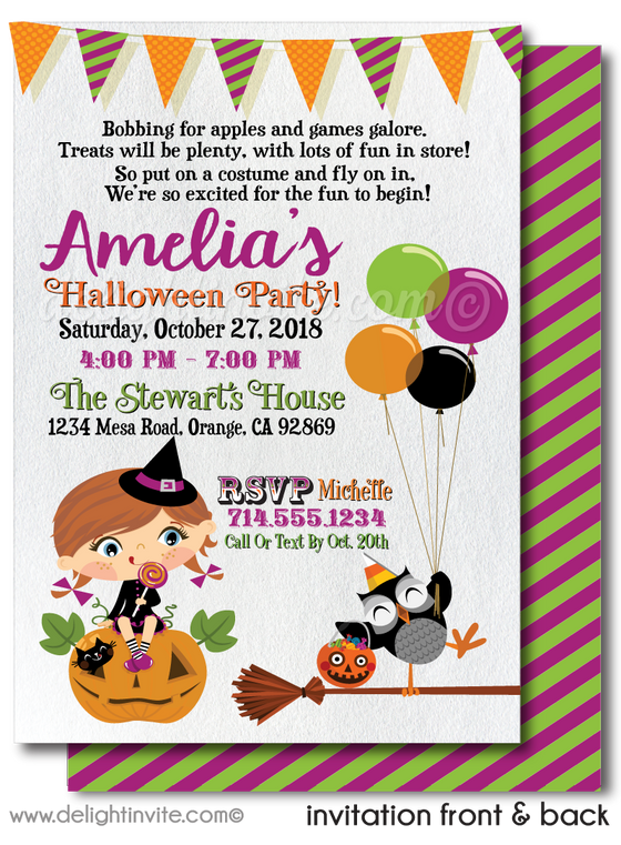 DIGITAL Child-Friendly Halloween Birthday Invitations, Girl Halloween Invitations, Non-Scary Halloween Invite for Kids, Cute Witch Halloween