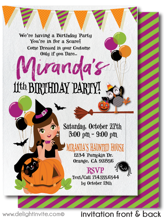 Halloween birthday party theme. Birthday on Halloween for kids.