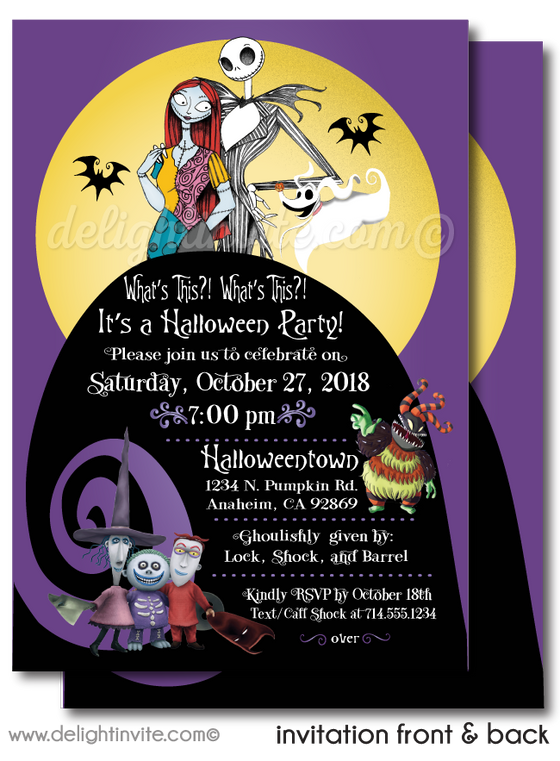 Nightmare Before Christmas Halloween Party Invitations