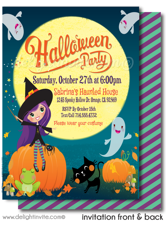 Child-Friendly Non-Scary Girl Witch Halloween Birthday Party Invitation Printable Digital File