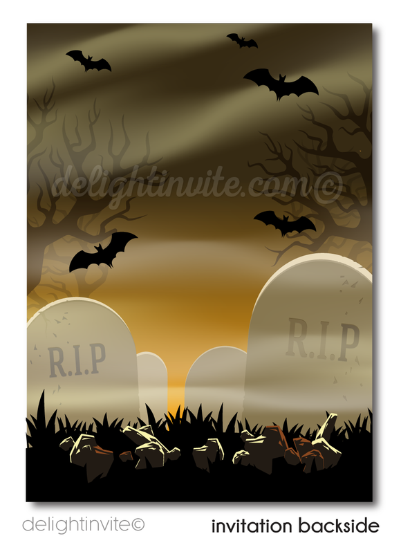 Digital Zombie Graveyard Halloween Party Invitations, Walking Dead Halloween Party Invites, Scary Halloween Invitations, Zombie Party