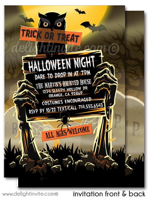 Scary Zombie Graveyard Halloween Party Invitations
