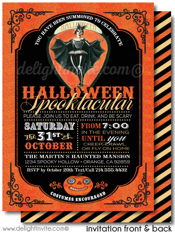 Non-Scary Vintage 1920's Adult Halloween Party Invitations