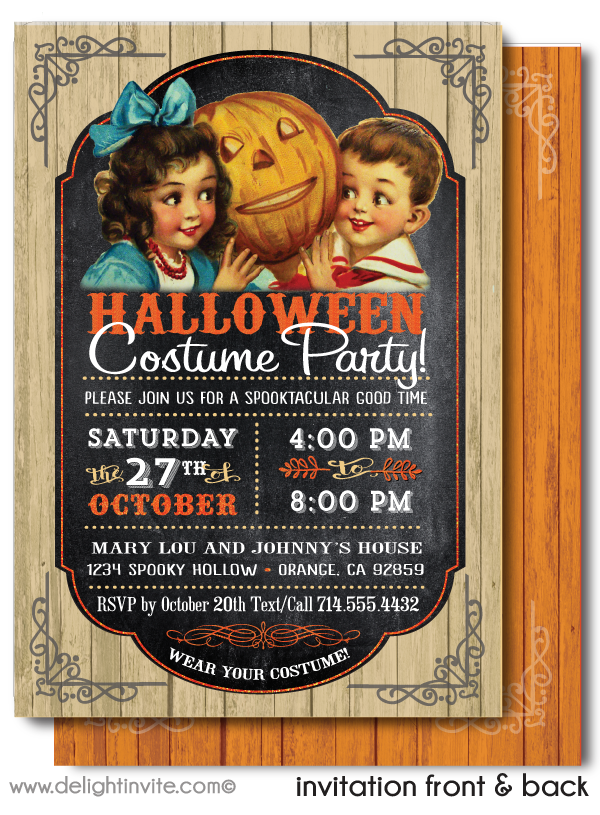 Vintage Child-Friendly Non-Scary Victorian Halloween Party Invitations