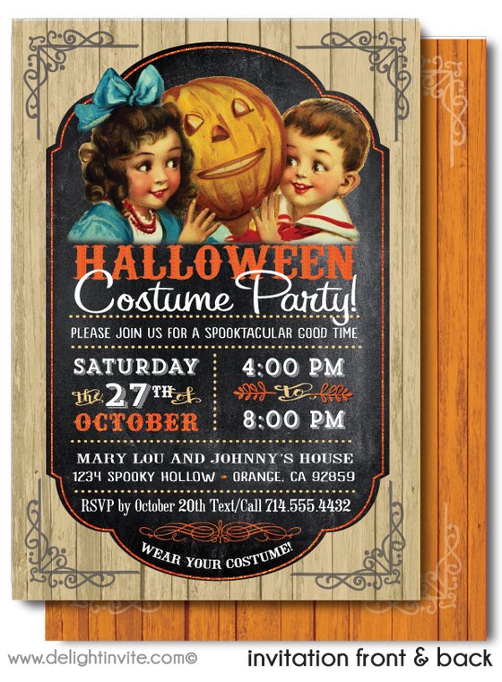 Vintage Child-Friendly Halloween Invitations