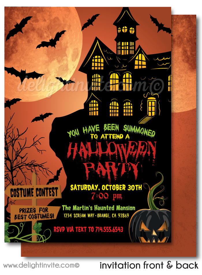 Non-Scary Kids Haunted House Halloween Party Invitations