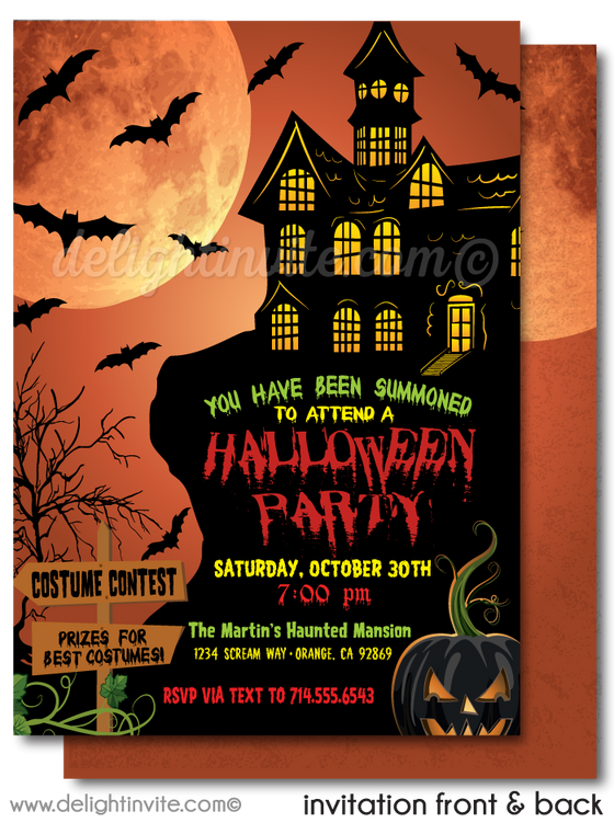 Haunted House Halloween Party Invitations