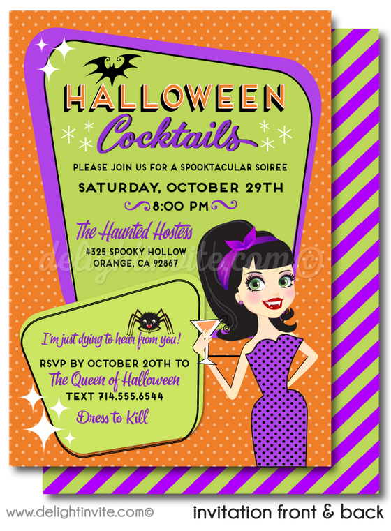 Retro Mod Rockabilly Pinup Girl Vampire Halloween Party Invitation Evite Digital Printable