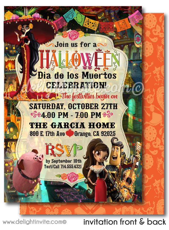 Book of Life Day of the Dead Halloween Invitations