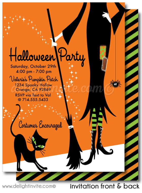 DIGITAL Retro Modern Witch Halloween Invitations, Cute Halloween Party Invitations, Non-Scary Halloween Invite for Kids, Retro Mod Halloween