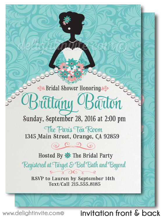 Aqua Blue Floral Pearls Bridal Shower Invitations. Vintage Pearls Floral Bridal Shower Invites. Diamonds and Pearls Bridal Shower.