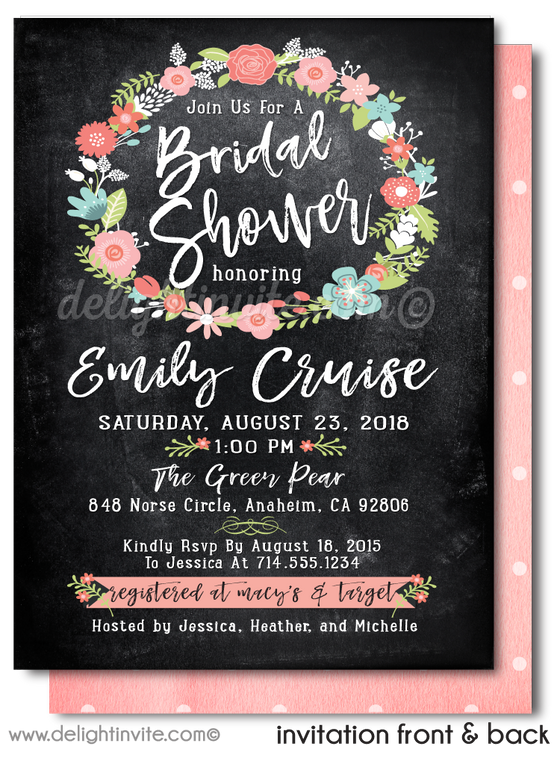 Botanical Floral Garden Wreath Outdoor Bridal Shower Printed Invitations