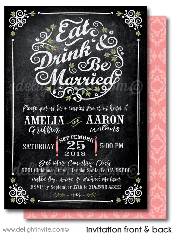 Eat, Drink, & Be Married Botanical Floral Garden Outdoor Bridal Shower Printed Invitations