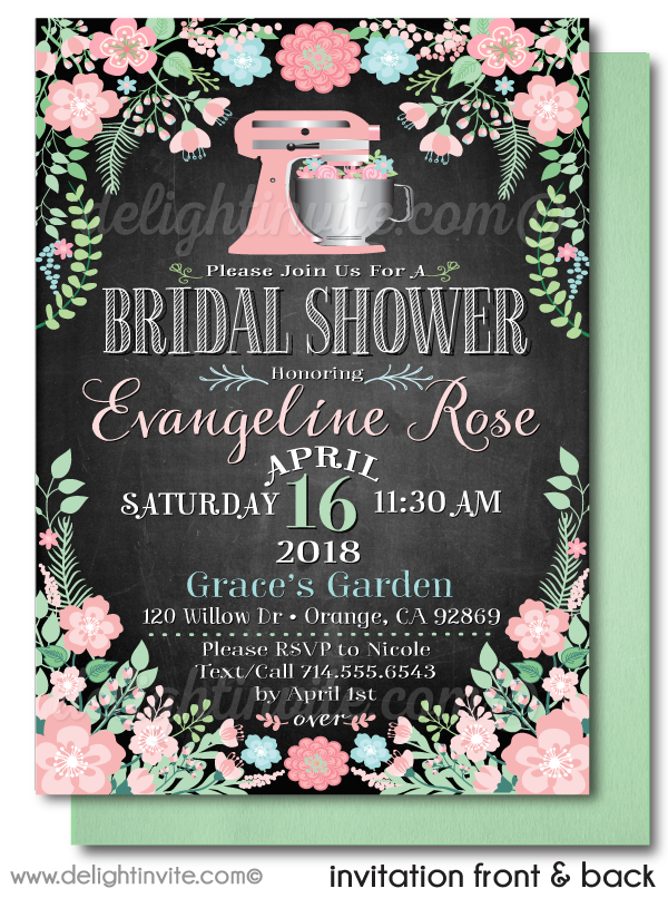 Vintage Botanical Floral Mixing Bowl Bridal Shower Invitation Digital Download
