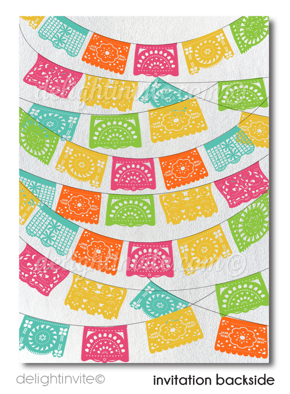 Mexican Fiesta Paper Flags Couples Bridal Shower Invitation Digital Download