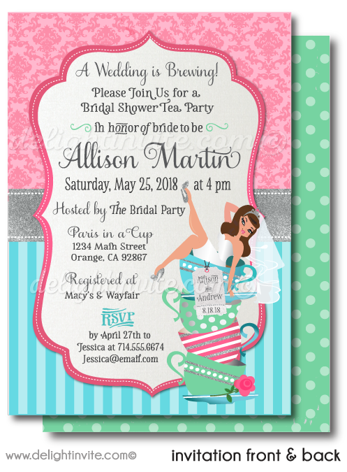 Retro Pin-Up Girl Shabby Chic Tea Party Rockabilly Bridal Shower Printed Invitations