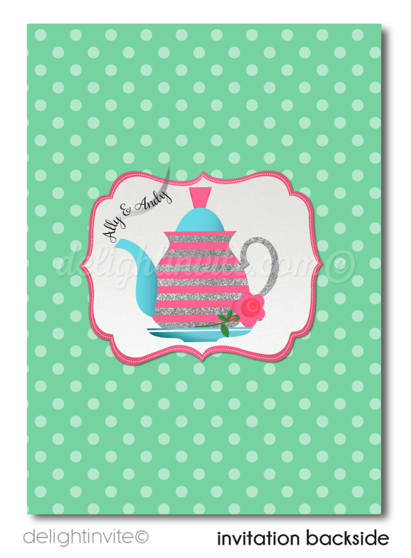 retro pin up bridal shower tea party invitations