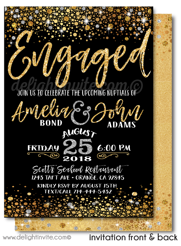 Gold Glitter and Black Engagement Party Invitations, Elegant Gold Shimmer Engagement Invites, Formal Engagement Party Invitations