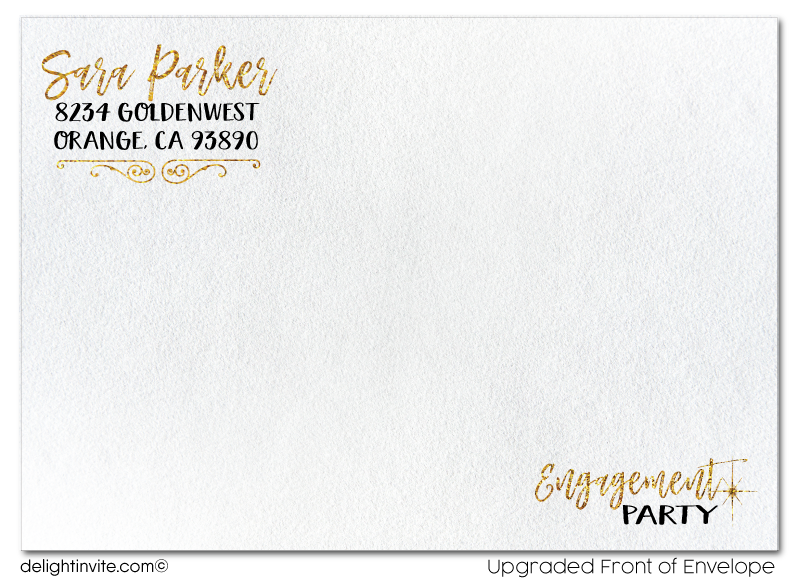 Gold Glitter and Black Formal Engagement Party Invitation Digital Download