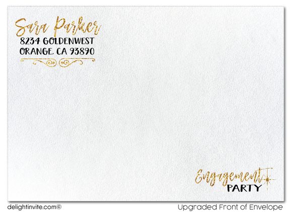Gold Glitter and Black Engagement Party Invitations