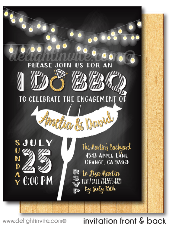 """I Do BBQ"" Backyard Engagement Party Invitations"