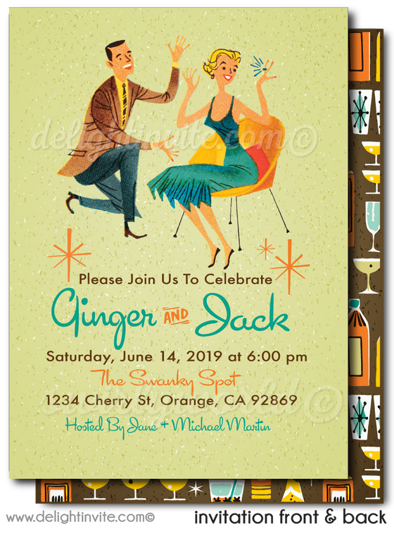 Atomic Retro Mid-Century Modern Engagement Party Invitations
