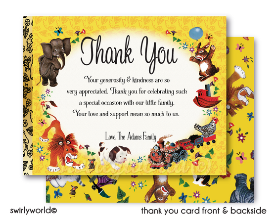 Vintage Little Golden Book 1st First Birthday Party Thank You Cards
