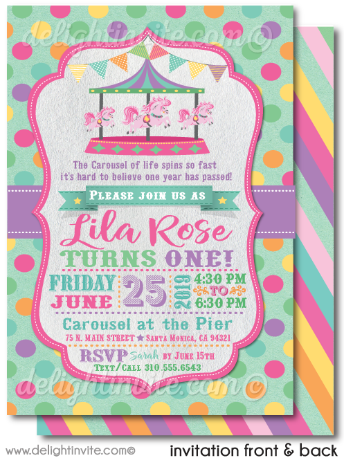 Pink and Purple Vintage Carousel First Birthday Invitation Digital Download Design