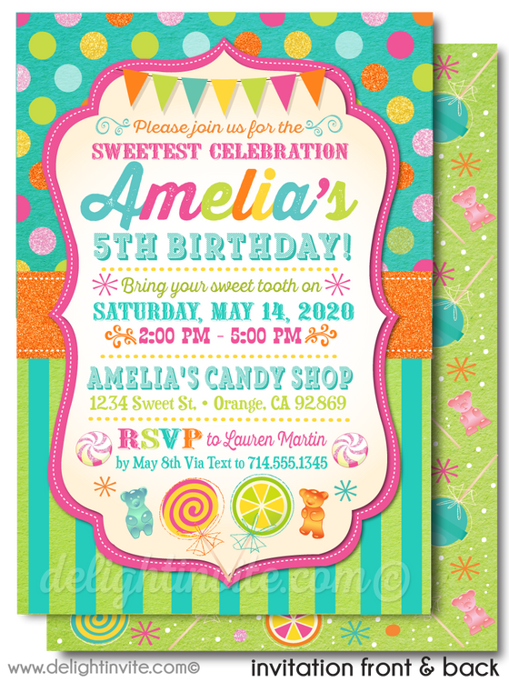 Polkadot Candy-land Candy Shop Girl Birthday Party Printed Invitations