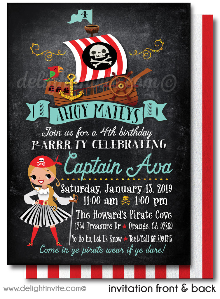 Princess Pirate Girl Birthday Party Invitation Digital Download Design