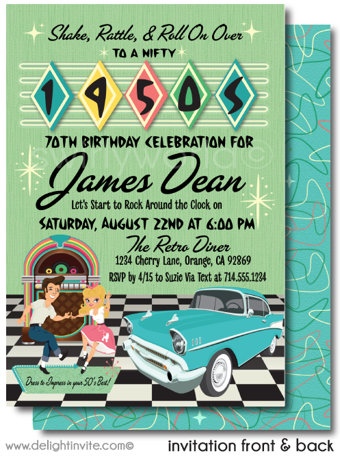 Retro 1950s Vintage Jukebox Sock Hop Grease Theme Birthday Party Printed Invitations