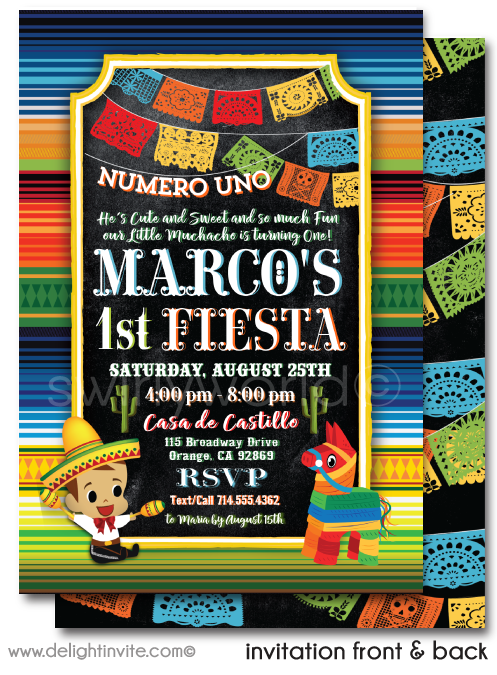 """Little Muchacho"" Mexican Fiesta Papel Picado Paper Flags 1st Birthday Invitation Design Download"