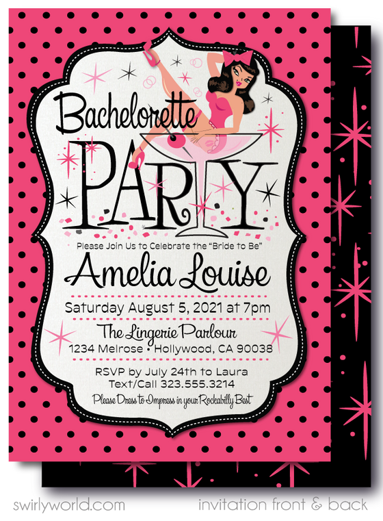 Retro Rockabilly Pink and Black Pinup Girl Bachelorette Party Invitation Digital Download