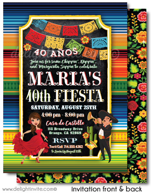 Señorita Papel Picado Paper Flags Fiesta 40th Birthday Printed Invitations